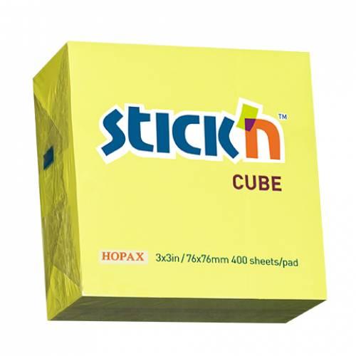 Notes samoprzylepny STICK'N Kostka 76x76mm 400 karteczek ¿ó³ty neonowy 21010